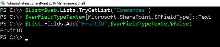 Commandes PowerShell SharePoint - Ajout colonne