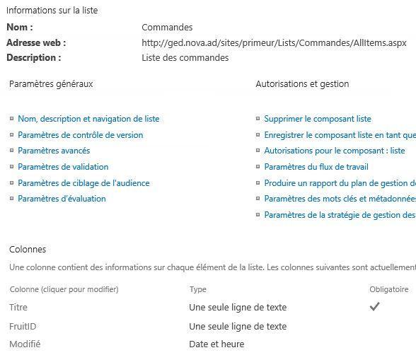 Commandes PowerShell SharePoint - Nouvelle colonne