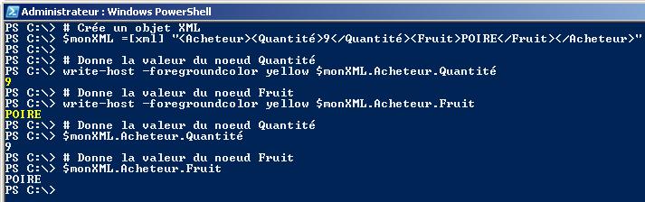 XML avec PowerShell