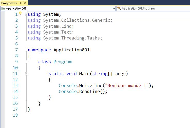 Comprendre un programme CSharp (C#)