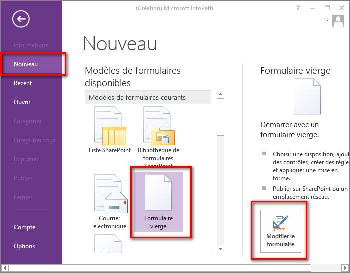 Créer des formulaires InfoPath SharePoint 2016