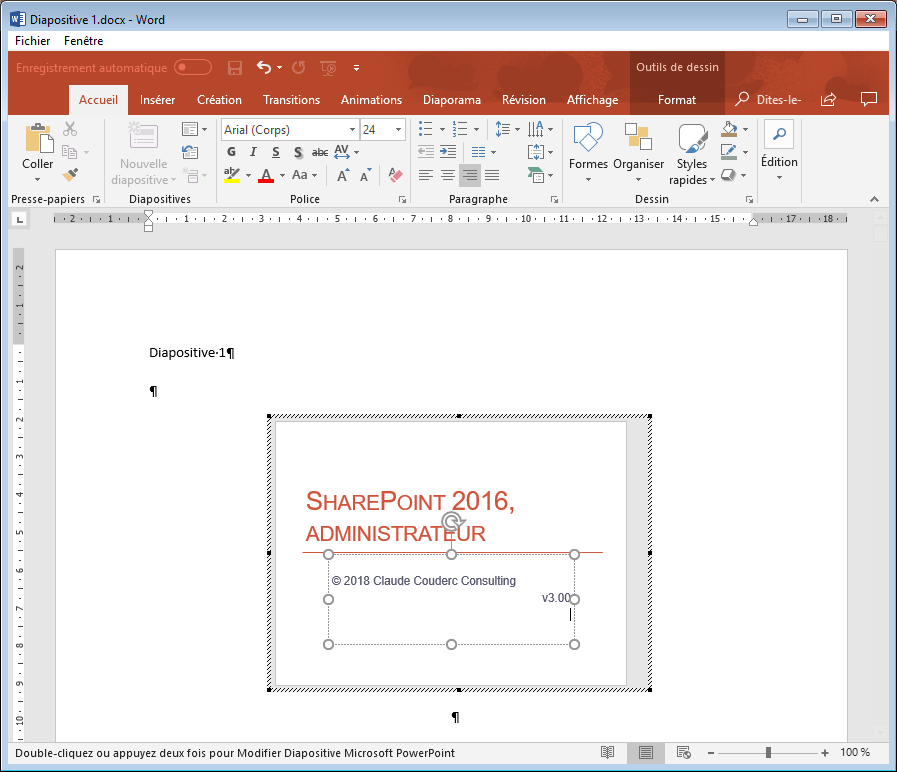 Diapositive modifiable dans Word