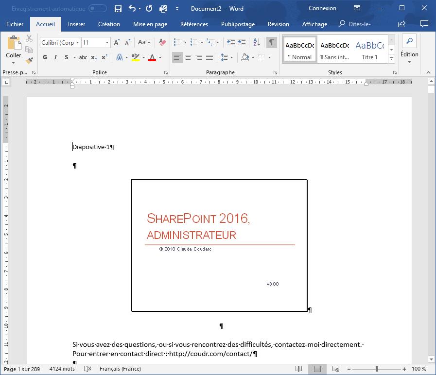 Exporter un PowerPoint en Word