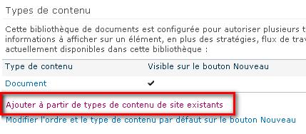 Ajouter à partir de types de contenu de site existants