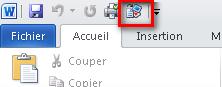 Barre d'outils Accès rapide avec Envoyer vers Microsoft PowerPoint