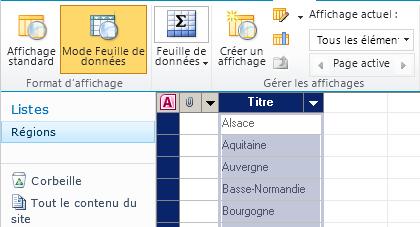 Copie réalisée en mode Feuille de données