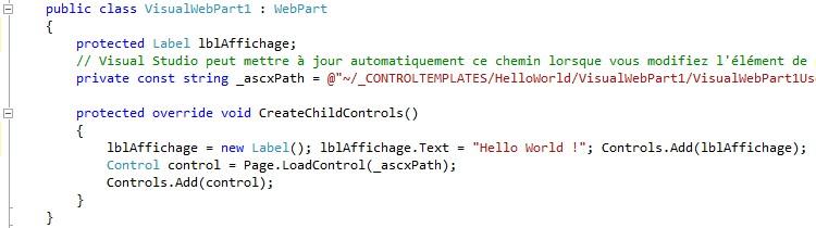 Composant Visual Webpart