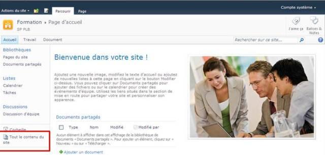 Création De Sites avec SharePoint 2010