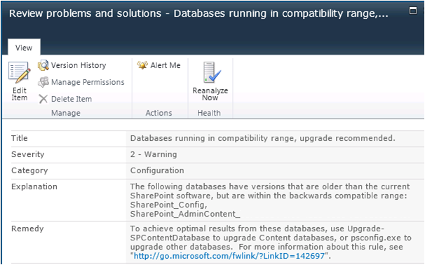 Databases running in compatibility range upgrade recommended