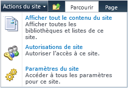 Droits sur la collection de sites