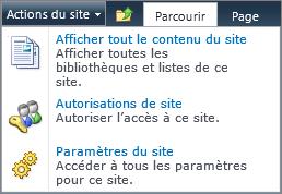 Droits sur la collection de sites