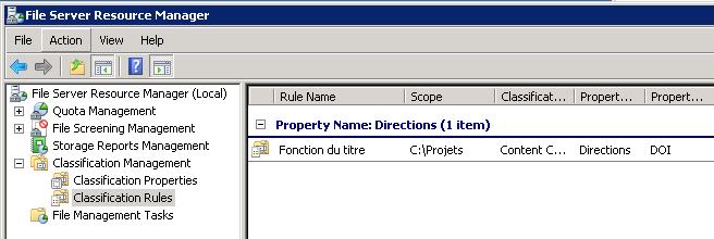 infrastructure de classification des fichiers