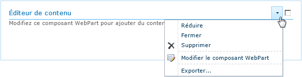 Composant webpart editeur de contenu
