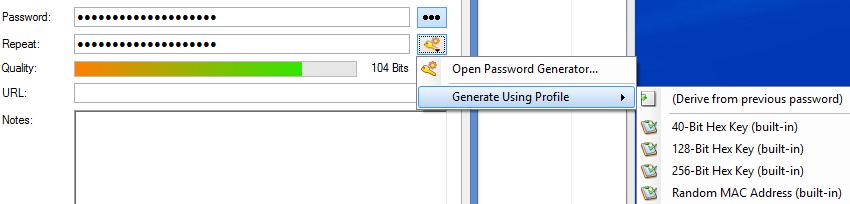 Génération automatique du mot de passe dans KeePass