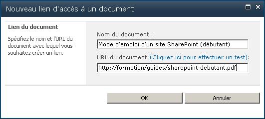 Nouveau lien d'accès a un document