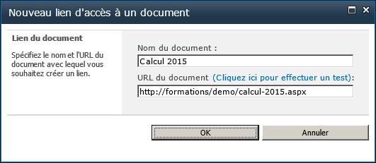 Nouveau lien d'accès a un document du réseau