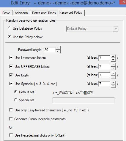 Modification de la stratégie de mot de passe dans Password Safe