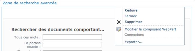 Modifier le composant WebPart