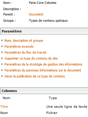type de contenu nommé Paris Core Columns