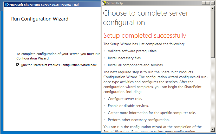 Installation réussie SharePoint 2016 Preview