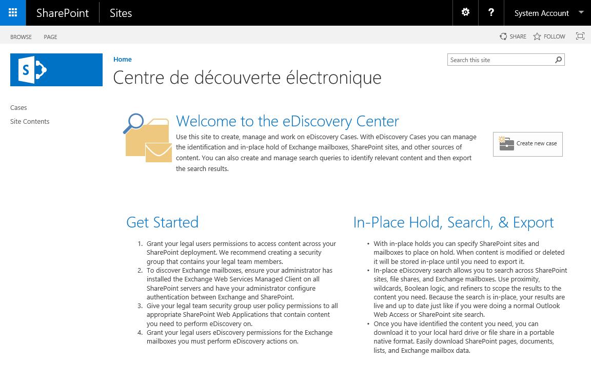 Modèle Centre de découverte électronique SharePoint 2016