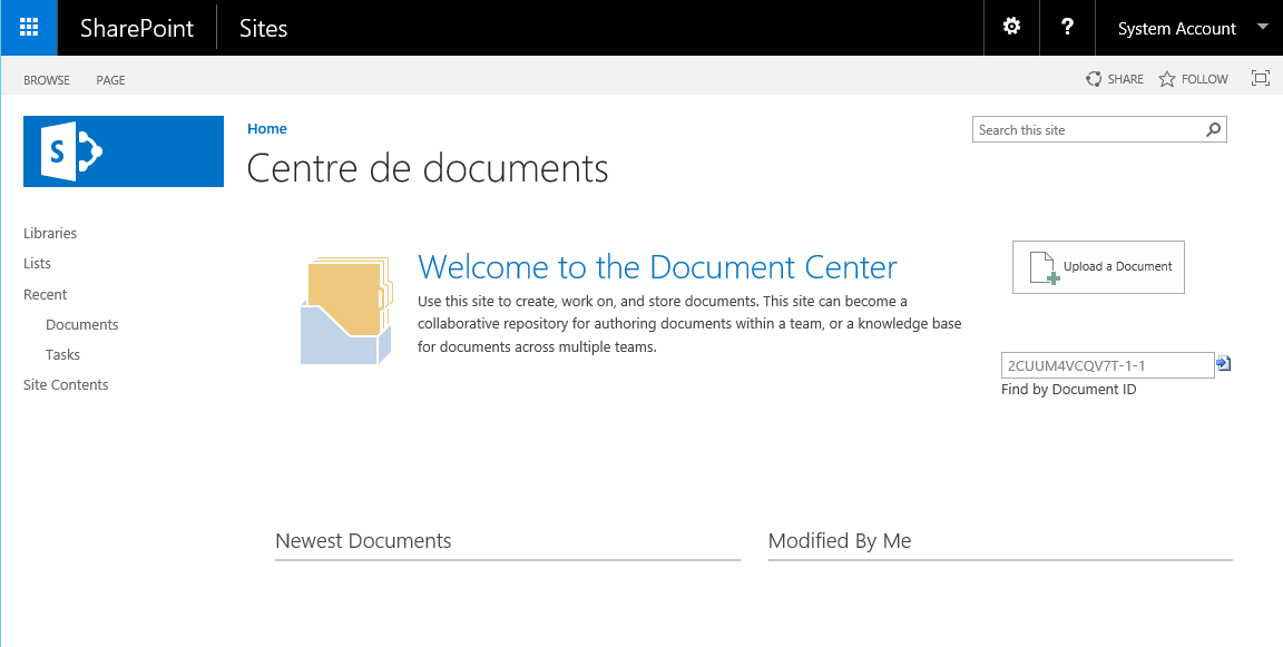Modèle Centre de documents SharePoint 2016