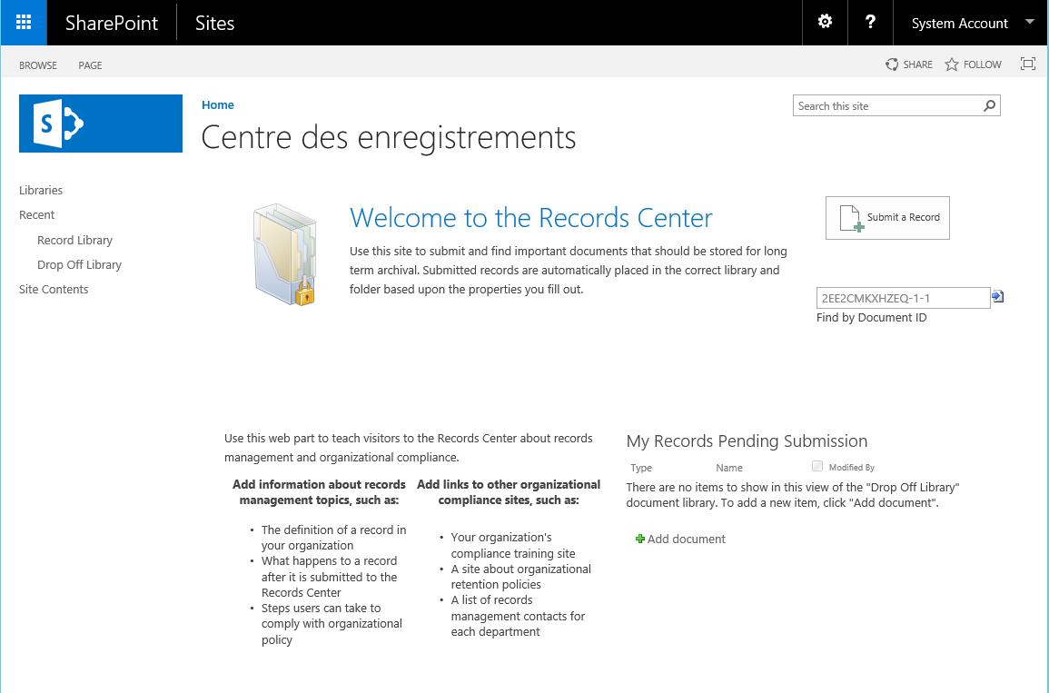 Modèle Centre des enregistrements SharePoint 2016