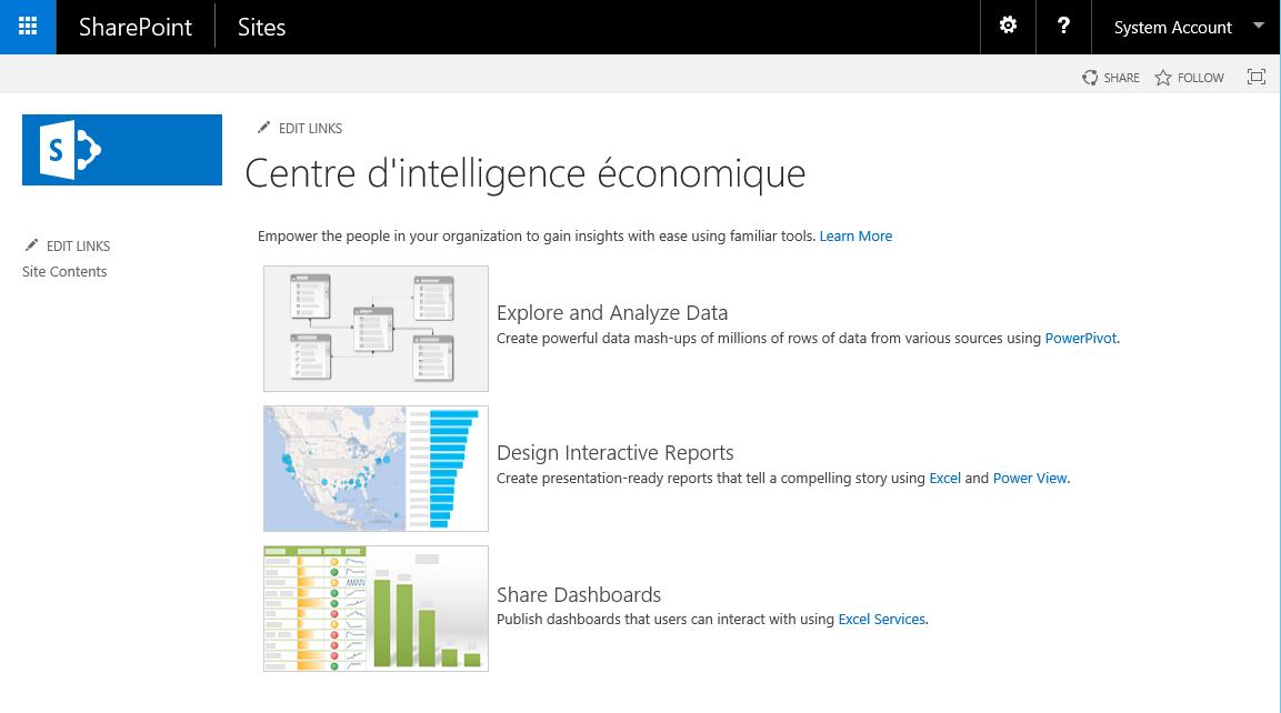 Modèle Centre d'intelligence économique SharePoint 2016