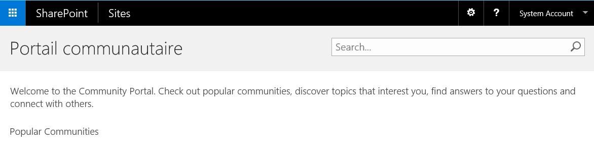 Modèle Portail communautaire SharePoint 2016