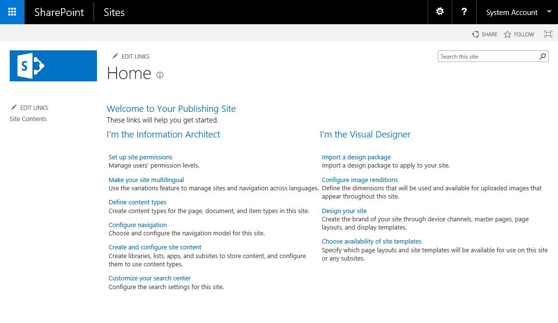Modèle Portail de publication SharePoint 2016