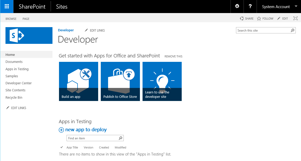 Modèle Site du développeur SharePoint 2016