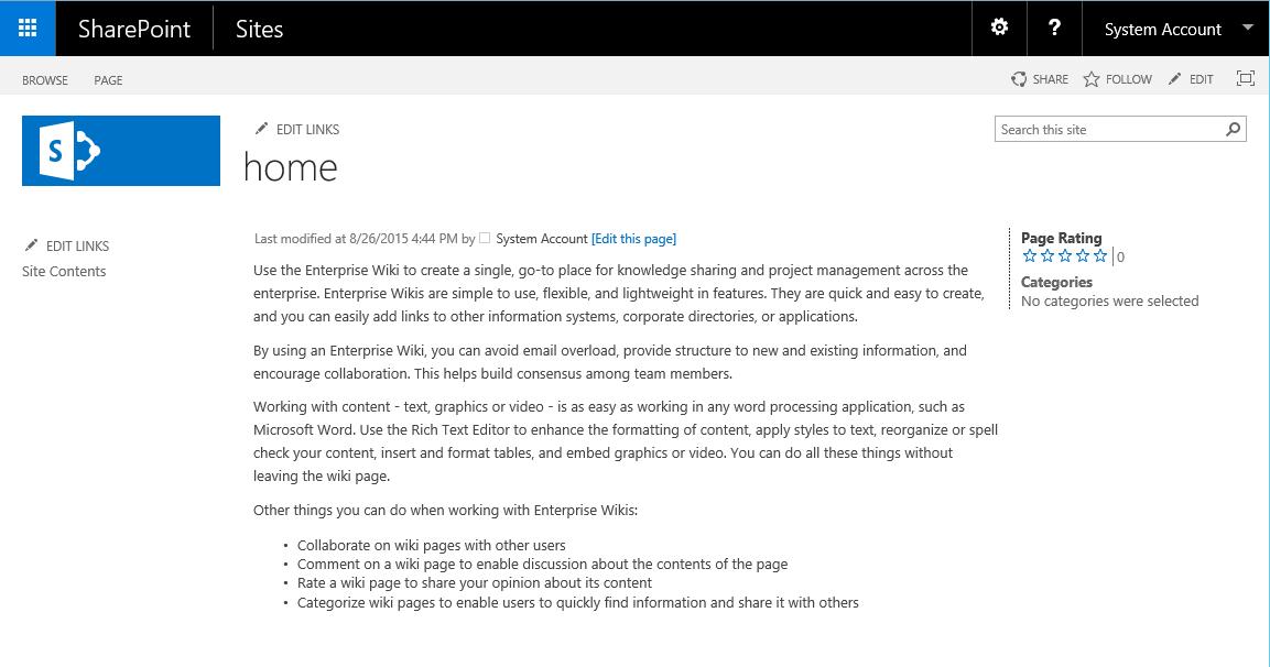 Modèles de sites SharePoint 2016
