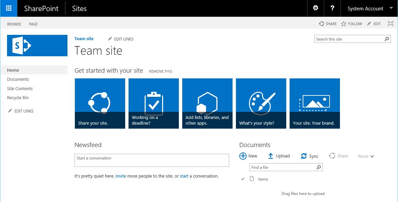 Site d'équipe SharePoint 2016