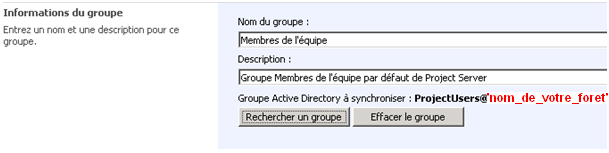 Informations du groupe