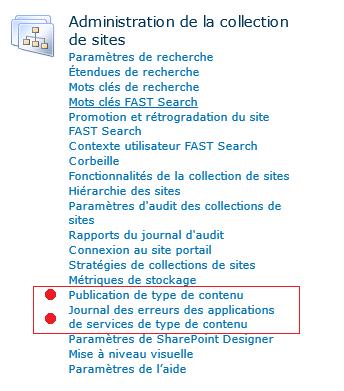 Journal des erreurs des applications de services de type de contenu