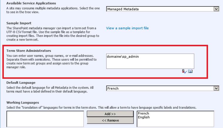 Provisionnement du magasin de termes des métadonnées gérées SharePoint