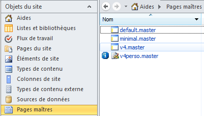Onglet Pages Maitres