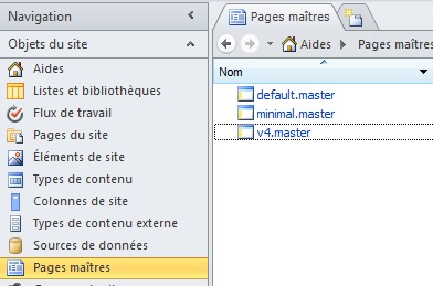 Pages master du site