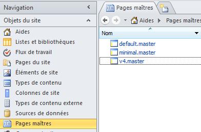 Pages master du site