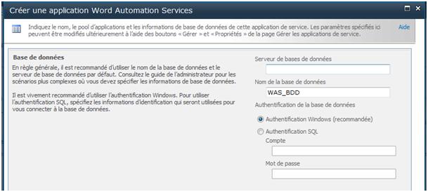 Créer la base de données de l'application de service Word Automation Services