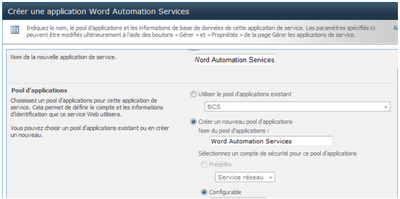 Créer l'application de service Word Automation Services