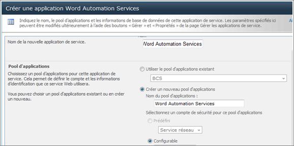 Créer l'application de service Word Automation Services