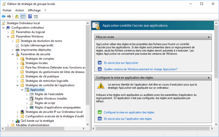 Sécurité Windows 10 : AppLocker