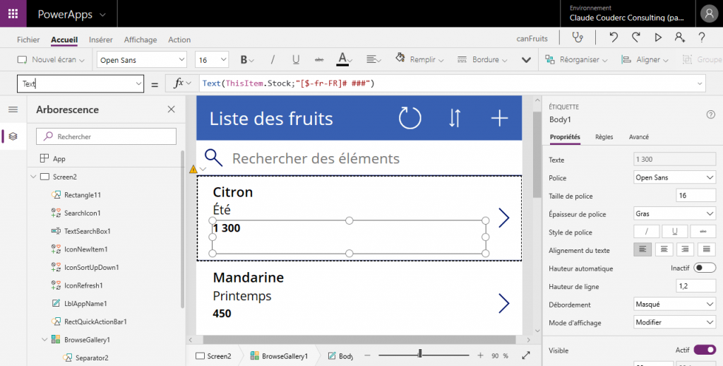 Interface de développement d'une application PowerApps