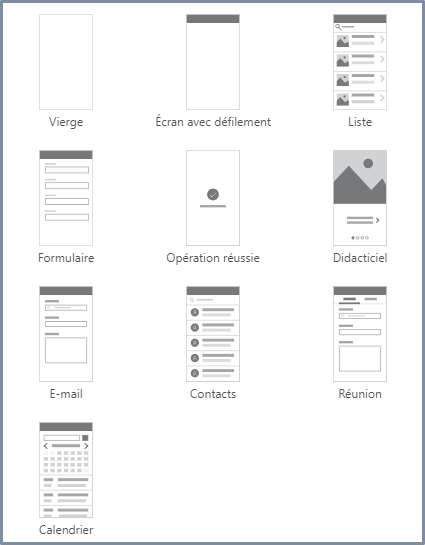 Modèle d'écrans dans PowerApps.