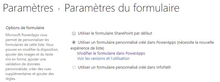Paramètres du formulaire