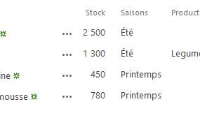 Liste lstFruits à jour