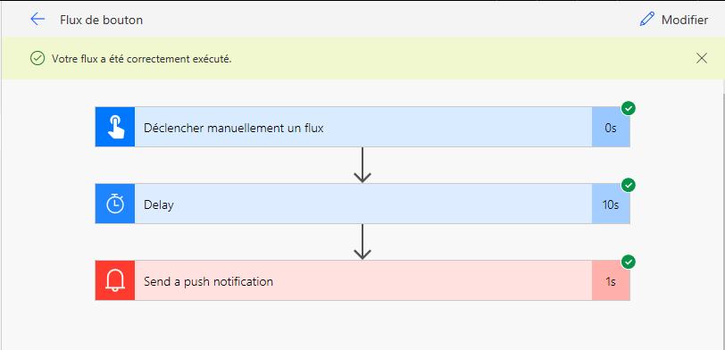 Notification avec un flux de bouton planifié
