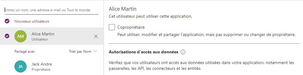 Partage en cours d'une application PowerApps