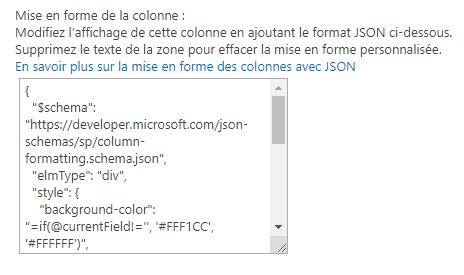 Affichage liste SharePoint JSON